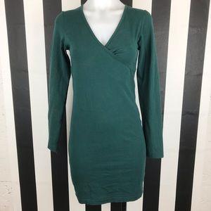 American Apparel Forest Green Faux Wrap Mini Dress